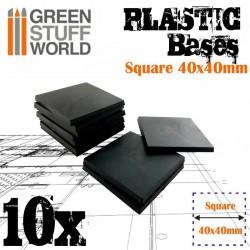 Plastic bases - square, 40 mm (x10).