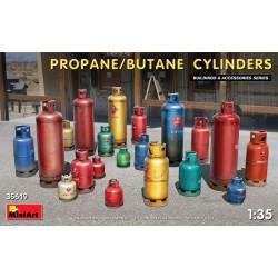 Set of propane and butane cylinders.