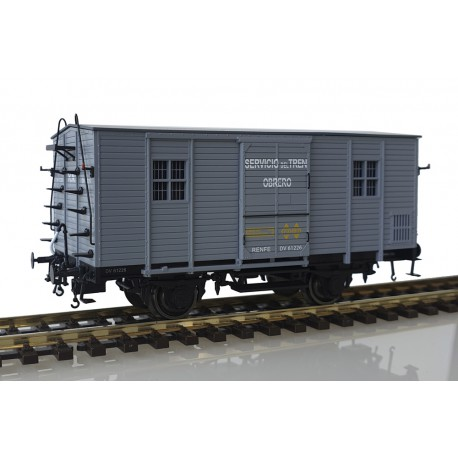 """Wooden van DV61226, RENFE. """"Tren obrero""""."""