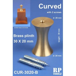 Plinth for bases, curved shape. Brass 30x20 mm.