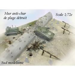 Muro antitanque destruido. PN SUD MODELISME 7290