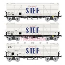 Set de tres vagones TP frigorífico STEF, SNCF.