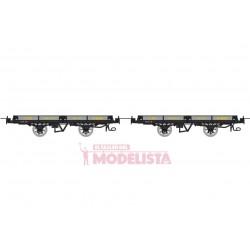 Set flat wagons, Hv 6596 + 6600.