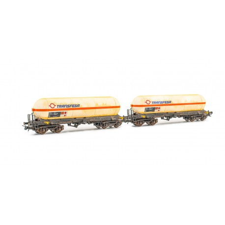 2-unit set of tank wagons Zags, Transfesa. Weathered.