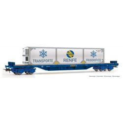 Vagón plataforma con contenedor frigorífico RENFE.