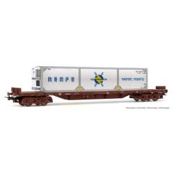RENFE 4-axle falt wagon.