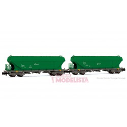 Hopper wagon set TT5, RENFE. Green livery.