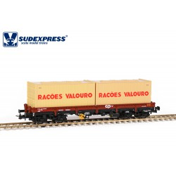 "Vagón CP Sgs, con contenedores ""RAÇOES VALOURO""."