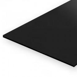 Hojas de estireno negro. 0,25 mm.