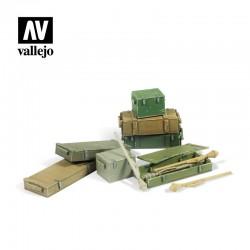 Cajas grandes de munición de 12,7 mm.