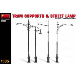 Tram supports and street lamp.