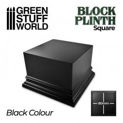 Pedestal cuadrado, negro 8x8 cm.