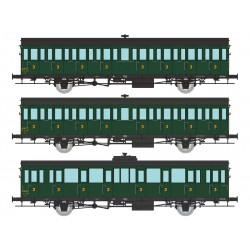 Set of 3 SUD-OUEST coaches, SNCF.