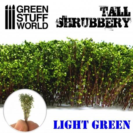Tall shrubbery, light green.