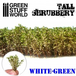 Tall shrubbery, green white.
