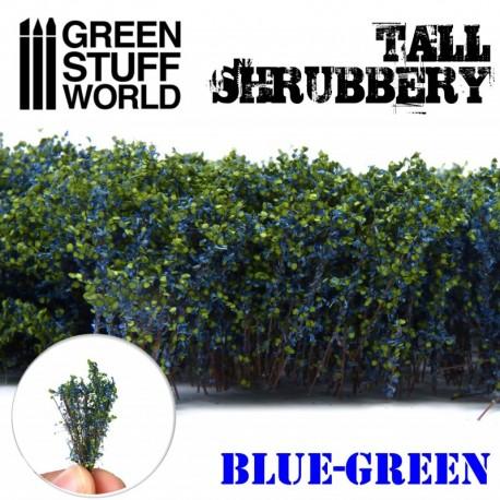 Tall shrubbery, dark green.