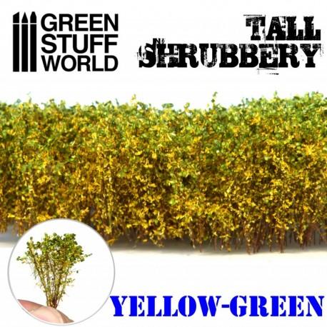 Tall shrubbery, yellow green.
