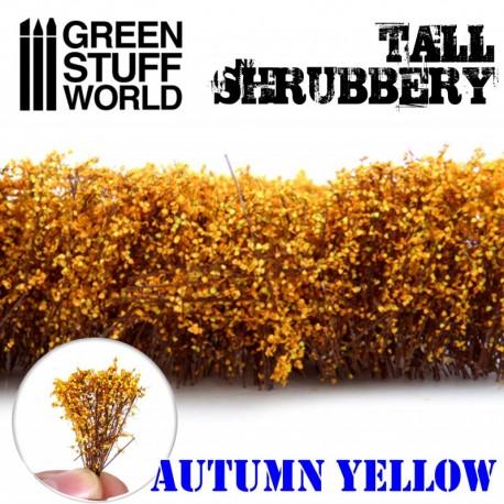 Tall shrubbery, autumn yellow.