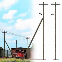 Wooden telegraph poles.