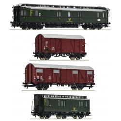 """Set de 4 piezas: """"Tren postal""""."""
