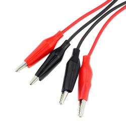Pinzas de cocodrilo con cable (x20). Negra/roja.