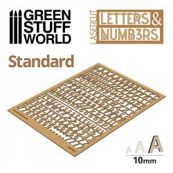 Letras y números stándar, 10 mm.