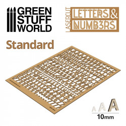 Letters and Numbers 10 mm, standard.