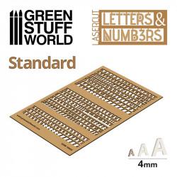 Letras y números stándar, 6 mm.