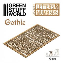 Letras y números góticos, 6 mm.