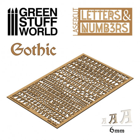 Letters and Numbers 6 mm, gothic.