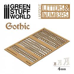 Letras y números góticos, 4 mm.