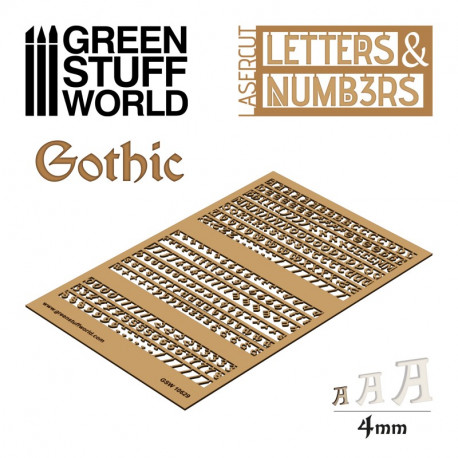 Letters and Numbers 4 mm, gothic.
