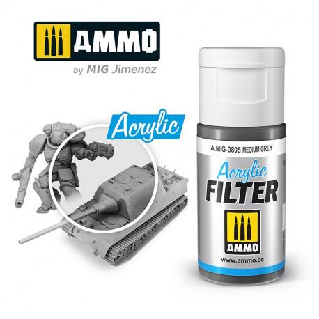 Acrylic filter: medium grey. 15 ml.