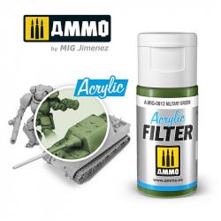 Filtro acrílico: verde militar. 15 ml.