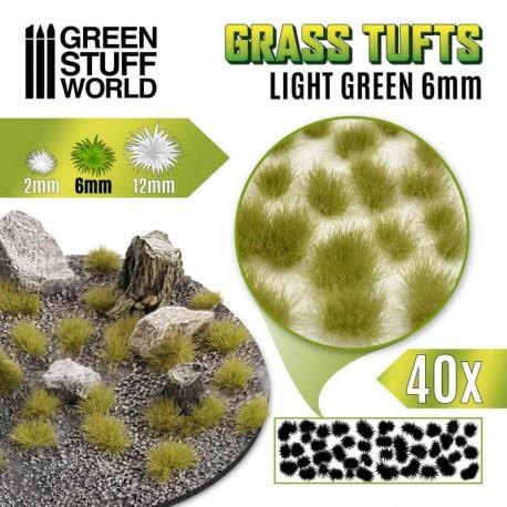Grass tufts, light green. 6 mm.