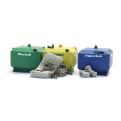 Glass and paper recycling containers.