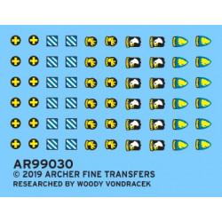 Distintivos de la 3ª y 33ª División de Infantería y 13ª, 17ª y 101ª del aire de EEUU.