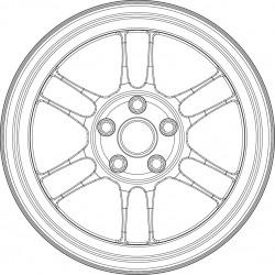 Enkei RPF1 tire and wheel set.