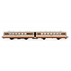 Diesel railcar 'Ferrobus' 591.500, RENFE. Brown/cream livery. Sound.
