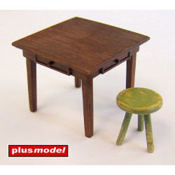 Table and chair.