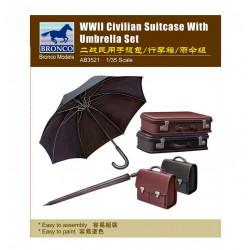 WWII Civilian suitcase with umbrella set.