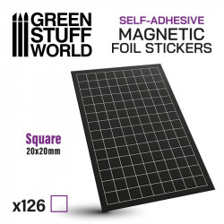 Square magnetic sheet self-adhesive 20x20mm.