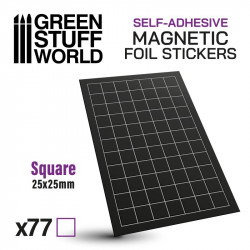 Square magnetic sheet self-adhesive 25x25mm.
