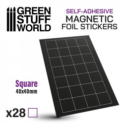 Square magnetic sheet self-adhesive 40x40mm.