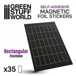 Rectangular magnetic sheet self-adhesive 25x50mm.