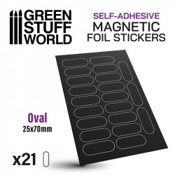 Oval magnetic sheet self-adhesive 25x70mm.