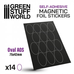 Oval magnetic sheet self-adhesive 75x42 mm.