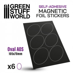 Oval magnetic sheet self-adhesive 105x70 mm.