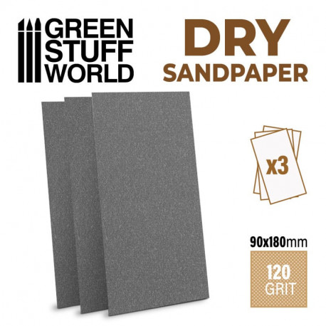 Sand paper dry 120 grit (x3).