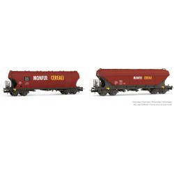 """Hopper wagons Uagpps """"Monfer Cereali""""."""